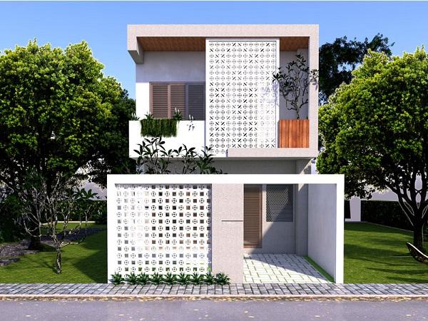Mẫu nhà 2 tầng 4 phòng ngủ 5×20 tiện nghi cho gia đình
