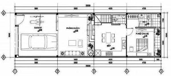 Bố trí mặt bằng lầu 1 nhà 1 trệt 1 lầu mặt tiền 5m đẹp